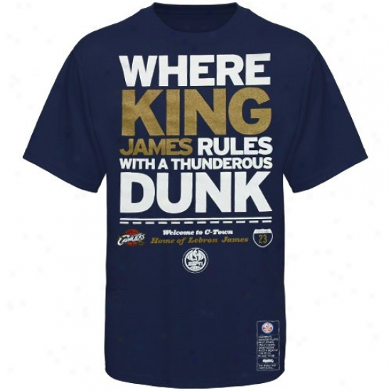 Cavs T Shirt : Majestic Cavs #23 Lebron James Navy Blue Nba Campaaigh Espn T Shirt