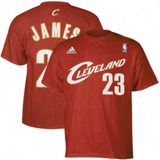 Cavs Tshirts : Adidas Cavs #23 Lebron James Wine Player Tshirts