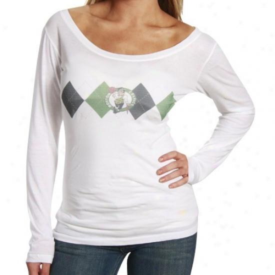 Celtics Apparel: Celtics Ladies White Argyle Long Sleeve Premium T-shirt