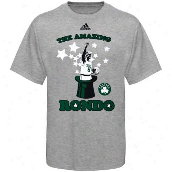 Celtics Attire: Adidas Celtics #9 Rajon Rondo Ash Amazing R0ndo T-shirt
