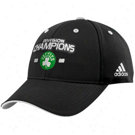 Celtics Cap : Adidas Celtics 2009 Atlantic Division Champions Black Adjustable Cap