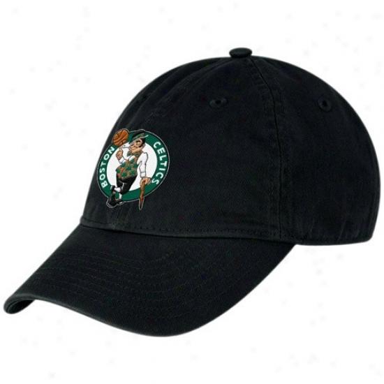 Celtics Gear: Adidas Celtics Ladies Black Basic Logo Slouch Adjustable Hat