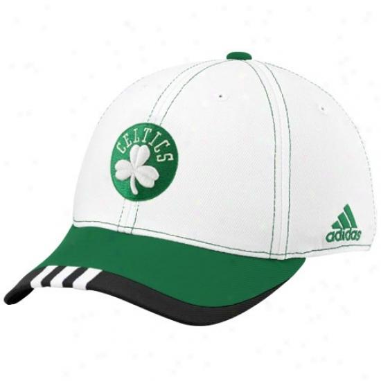 Celtics Gear: Adidas Celtics White On Judicial tribunal Flex Fit Hat