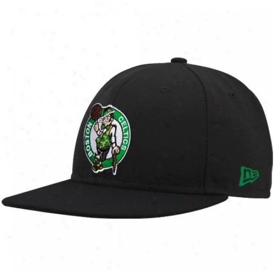 Celtics Gear: New Era Celtics Mourning Logo 59fifty Fitted Hat