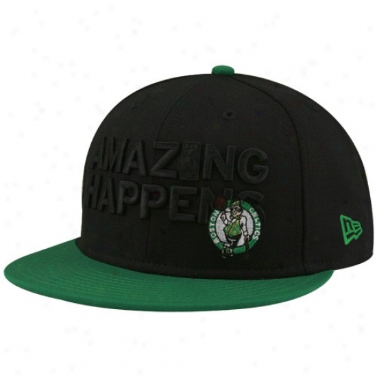 Celtics Gear: New Era-espn Celtics Black-green Astonishing Fitted Hat