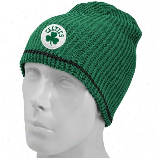 Celtics Hat : Adidas Celtics Kelly Green-black Striped Reversible Knit Beanie