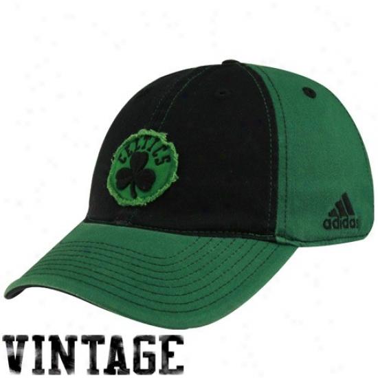 Celtics Hats : Adidas Celtics Black-green Vintage Patch Flex Fit Hats