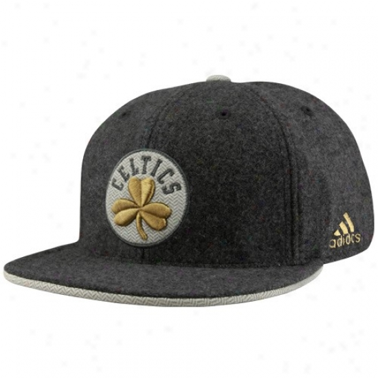 Celtice Hats : Adidas Celtics Charcoal Fashion Floor Bill Fitted Hats