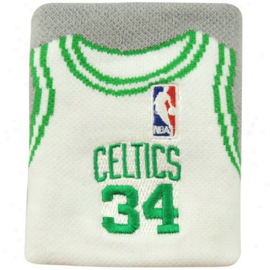 Celtics Hats : Celtics #34 Paul Pierce White Team Jersey Wristband