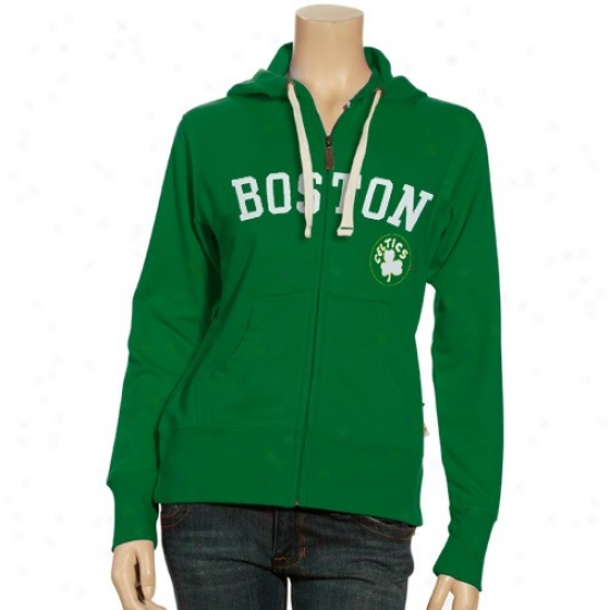 Celtics Jackets : Celtics Ladies Kelly Green We've Taste The Look Full Zip Hoody Jackets