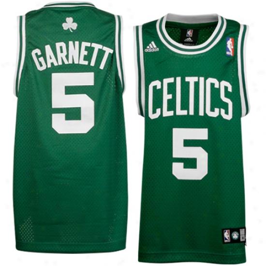 Celtics Jersey : Adidas Celtics #5 Kevin Garnett Youth Green Swingman Baqketball Jersey