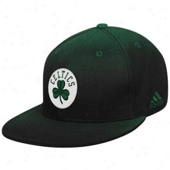 Celtics Merchandise: Adidas Celtics Green Gradiated Flat Bill Fitted Hat