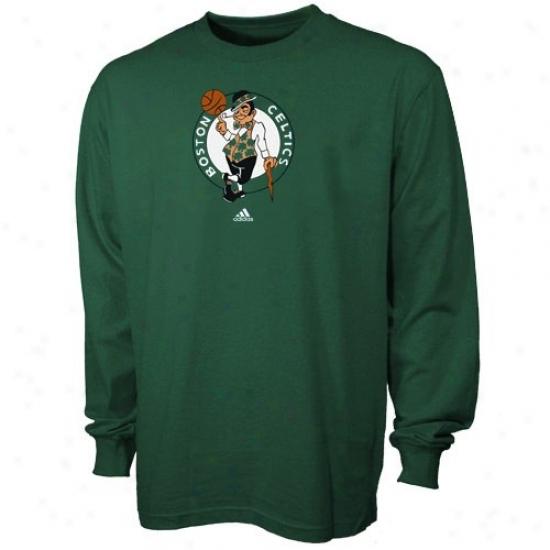 Celtics Shirt : Adidas Celtics Green Primarg Logo Long Sleeve Shirt