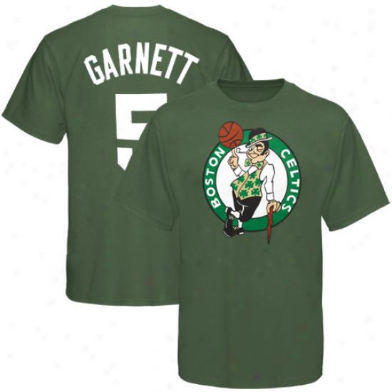 Celtics Shirts : Majestic Celtics #5 Kevin Garnett Kelly Lawn Performer Pigment Dyed Shirts