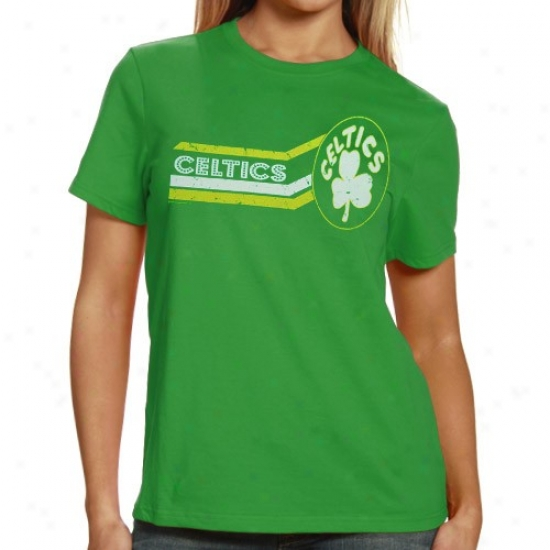Celtics Shirts : Majestic Celticq Ladies Kelly Green Bludgeon Sunburst Shirts