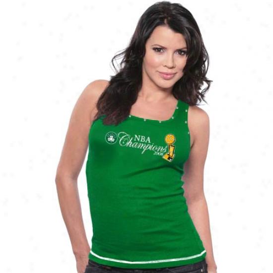 Celyics T Shirt : Majestic Threads Celtics Green Ladies 2008 Nba Champions Swarovski Crystal Necklace Tank Top