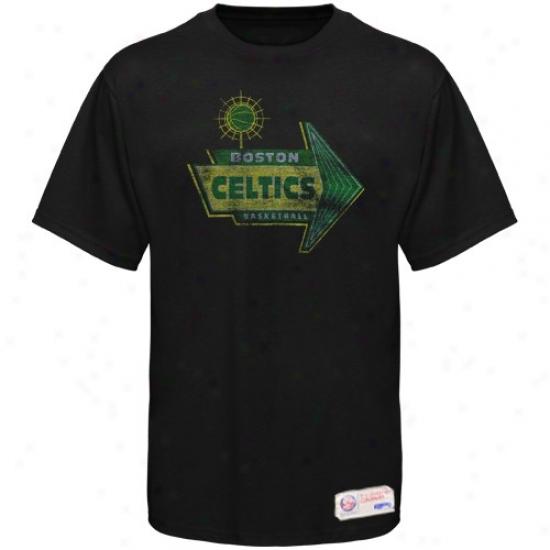 Celtics T-shirt : Sportiqe-sspn Celtics Black Strip Distressed Premium T-shirt