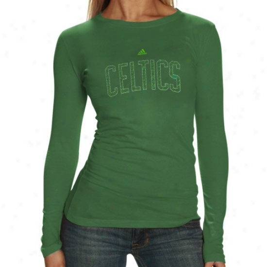 Celtics Tees : Adidas Celtics Ladies Green Interior Thoughts Silky Smooth Long Sleeve Tees