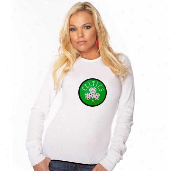 Celtics Tees : Majesyic Threads Celtics Ladies White Swapvski Crystal Contrast Hem Baby Long Sleeve Tees