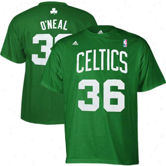 Celtics Tshirt : Adidas Celtics #36 Shaquille O'neal Green Clear Player Tshirt