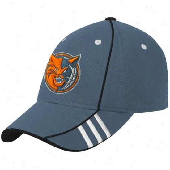 Charlotte Bobcat Gear: Adidas Charlotte Bobcat Blue Official Team Adjustable Hat