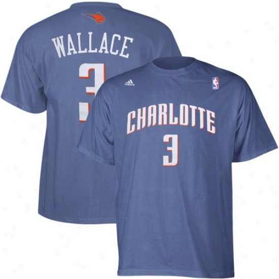 Charlotte Bobcat Shirt : Adidas Charlotte Bobcat #3 Gerald Wallace Light Blue Net Player Shirt
