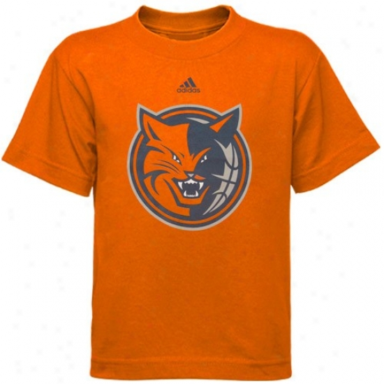 Charlotte Bobcat Shirts : Adidas Charlotte Bobcat Orange Youth Primary Logo Shirts