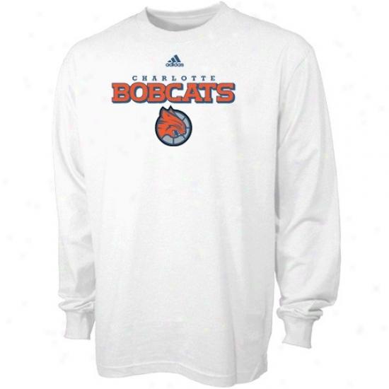 Charkotte Bobcats Dress: Adidas Charlotte Bobcats White True Court Protracted Sleeve T-shirt