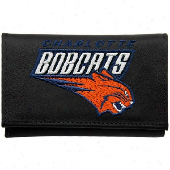 Charlotte Bobcats Black Leather Embroidered Tri-fold Wallet