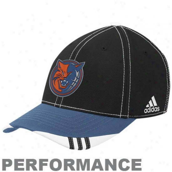 Charlotte Bobcats Hat : Adidas Charlottte Bobcats Black-blue Official On Court Performance Flex Fit Hat