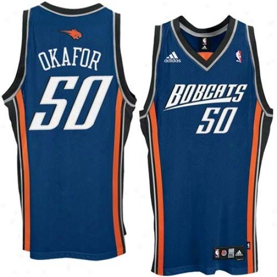 Charlotte Bobcats Jersey : Adidas Charlotte Bobcats #50 Emeka Okafor Blue 2nd Road Swingman Basketball Jersey