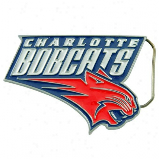 Charlotte Bobcats Pewter Team Logo Belt Buckle