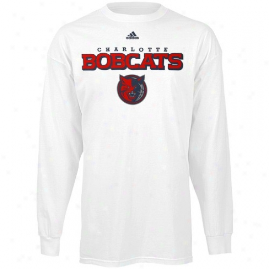 Charlotte Bobcats Shirt : Adidas Charlotte Bobcats True White Long Sleeve Shirt