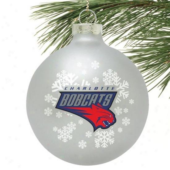 Charlotte Bobcats Silver Snowflake Glass Ornament