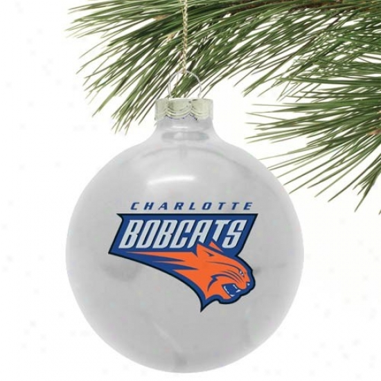 Charlotte Bobcats Silver Tradktional Glass Ornament