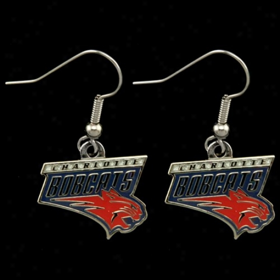 Charlotte Bobcats Team Logo Dangle Earrings