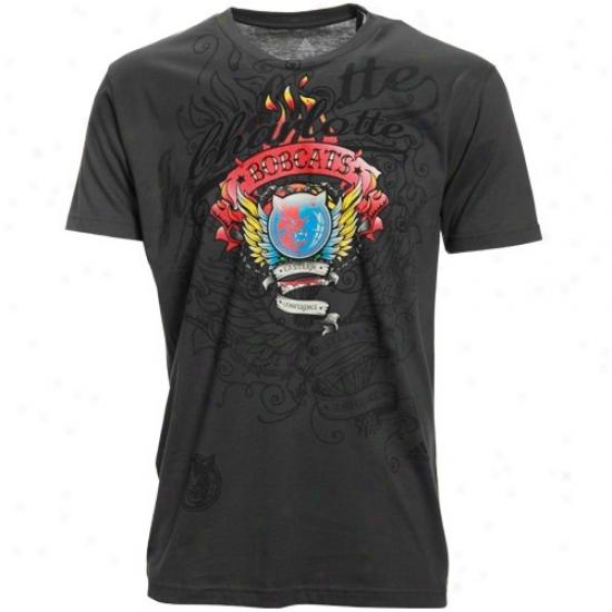 Charlotte Bobcats Tshirts : Reebok Charlotte Bobcats Charcoal Firefly Super Soft Premium Tshirts