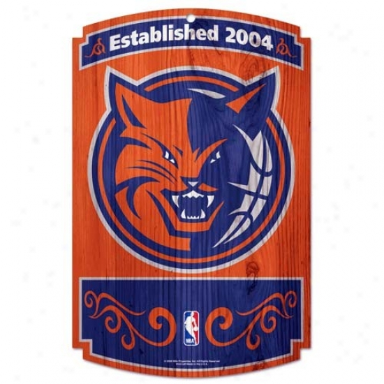 Charlotte Bobcats Wood Sign
