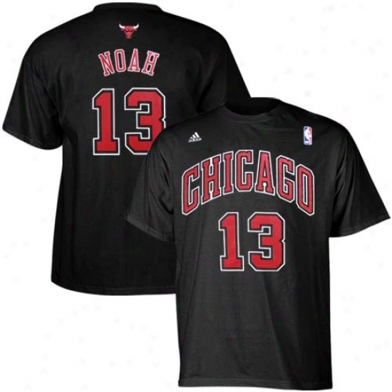 Chicago Bull Apparel: Adidas Chicago Bull #13 Joakim Noah Black Player T-shirt