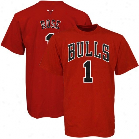 Chicago Bull Attire: Adidas Chicago Bull #1 Derrick Rose Red Net Player T-shirt