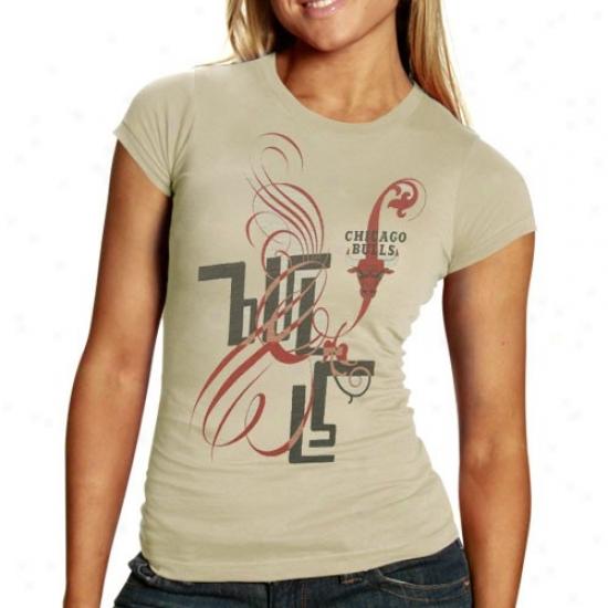 Chicago Bull Attire: Chicago Bull Ladies Cream Graffiti Script Premium Slub T-shirt