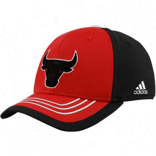 Chicago Bull Cap : Adidas Chicago Bull Youth Red-black Color Block Logo Flex Interval Czp