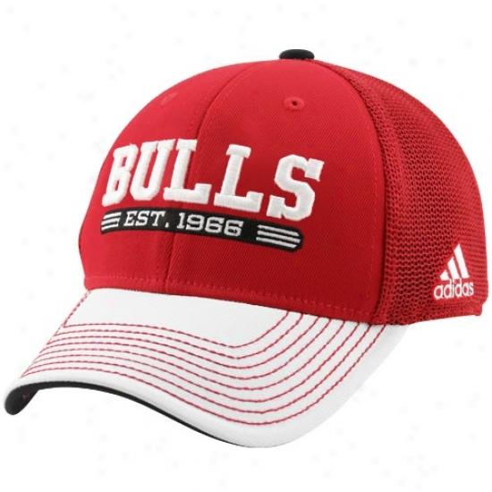 Chicago Bull Hat : Adidas Chicago Bull Red-white Established Mesh Flex Fit Hat