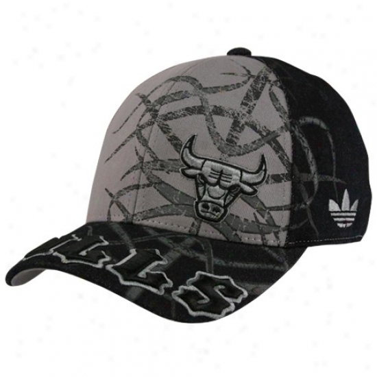 Chicago Bull Hats : Adidas Chicago Bull Black-gray Tatted Structured Flex Fit Hats