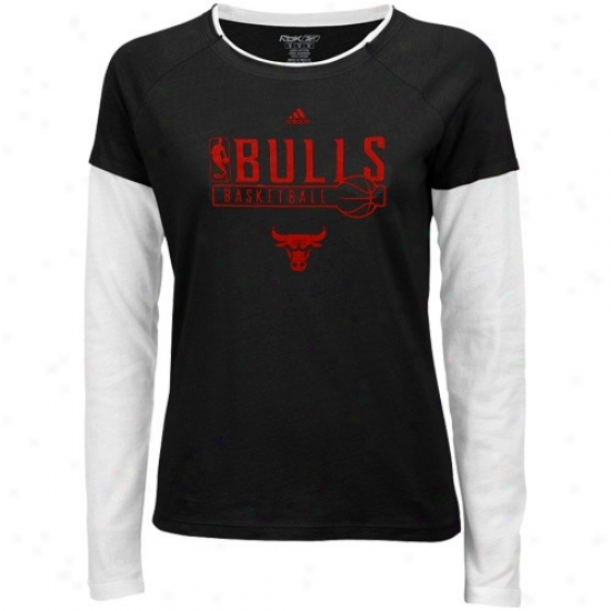 Chicaog Bull Shirt : Adidas Chicago Bull Ladies Black Chest Pass Long Sleeve Tissue Shirt