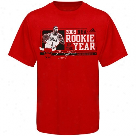 Chicago Bull Shirts : Adidas Chicago Bull eRd #1 Derrick Rose 2009 Nba Rookie Of The Year Shirts