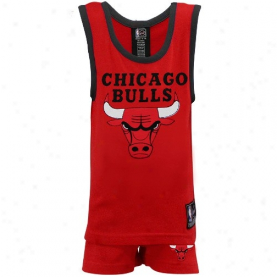 Chicago Bull Shirtx : Chicago Bull Juvenile Red 2-piece Pajama Set