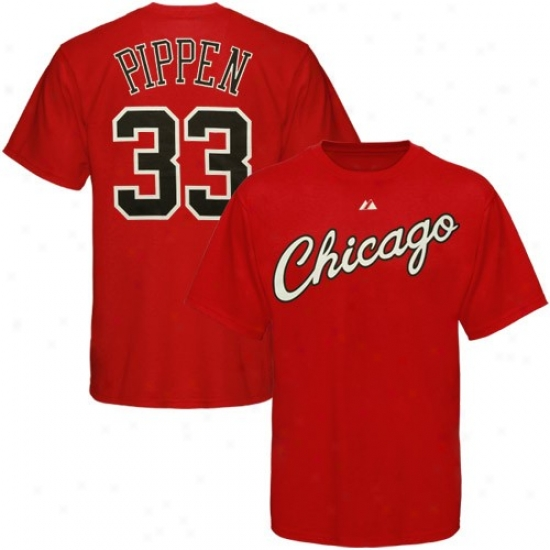Chiczgo Bull T-shirt : Majestic Chicago Blunder  #33 Scottie Pippen Red Player & Number T-shirt