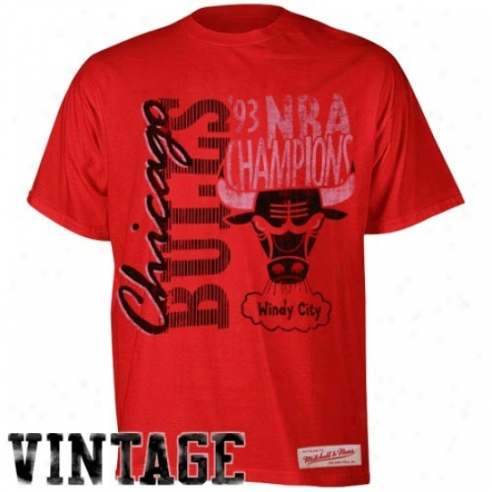 Chicago Bull Tees : Mitchell & Ness Chicago Bull Red '93 Champions Premium Vintage Tees