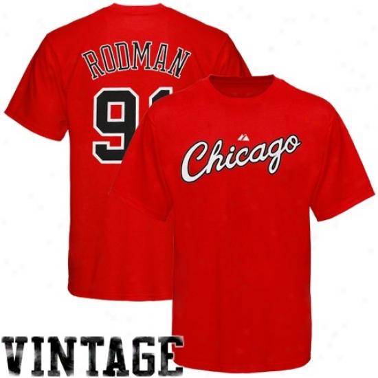 Chicago Bull Tshirts : Majestic Chicago Bull #91 Dennis Rodman Red Player Tshirts